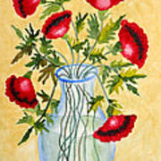 Red Poppies In A Vase Poster