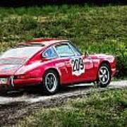 Red Porsche Running Away Poster
