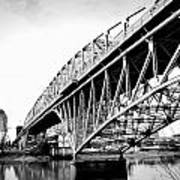 Red River Bridge Black And White Poster
