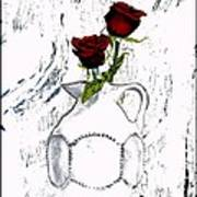 Red Roses With Green Leaves Poster