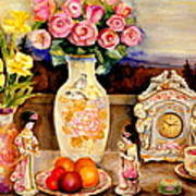 Red Roses Yellow Daffodils In Hand Painted Oriental Antique Vases With Fruit Plate Doves And Angels Poster