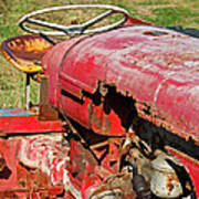 Red Rusty Beach Tractor Poster