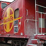 Red Sante Fe Caboose Train . 7d10334 Poster by Wingsdomain Art and Photography