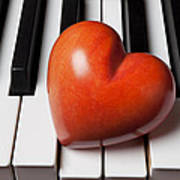 Red Stone Heart On Piano Keys Poster