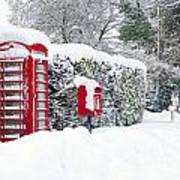 Red Telephone And Post Box In The Snow Poster
