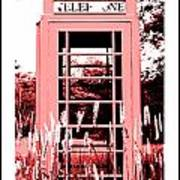 Red Telephone Booth In A Field In Maine Poster