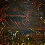 Red Tide Skeleton Fish Poster