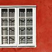 Red Timber House And Window Frame In Poster