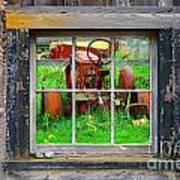 Red Tractor Thru Old Window Poster