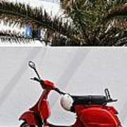 Red Vespa By Wall Poster