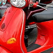 Red Vespa Vintage Scooter Motorcycle Poster