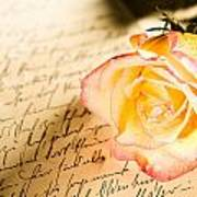 Red Yellow Rose Over A Hand Written Letter Poster