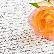 Red Yellow Rose Over A Hand Written Love Letter Poster