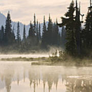 Reflection Lake With Mist, Mount Poster