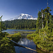 Reflection Lake With Mount Rainier Poster