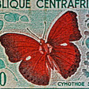Republique Centrafricaine Butterfly Stamp Poster