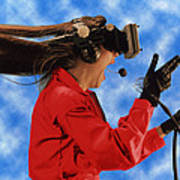 Researcher Wearing Virtual Reality Headset Poster