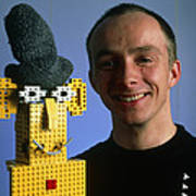Researcher With His Happy Emotional Lego Robot Poster