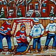 Rink Hockey Montreal Street Scenes Poster by Carole Spandau