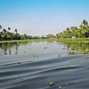 Ripples On The Water Of The Saltwater Lagoon In Alleppey In Kerala In India Poster