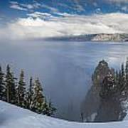 Rising Mists From Crater Lake Panorama Poster