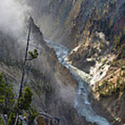 Rising Mists From Grand Canyon Of The Yellowstone Poster