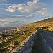 Road Along The Burren Coastline Region Poster