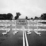 Road Closed And Highway Barrier Due To Flooding Iowa Usa United States Of America Poster by Joe Fox