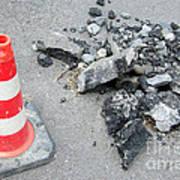 Roadworks - Asphalt And Pylon Poster