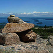 Rock Cairn On Cadillac Mountain Poster