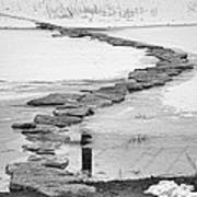 Rock Lake Crossing In Black And White  Poster