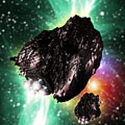 Rocket-controlled Asteroids Poster by Victor Habbick Visions