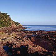 Rockpools In Volcanic Rock Formations Poster