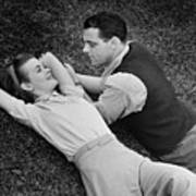 Romantic Couple Lying On Grass, (b&w), Elevated View Poster