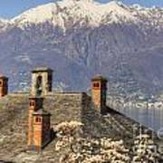 Roof With Chimney And Snow-capped Mountain Poster