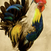 Rooster On The Prowl 2 - Vintage Tonal Poster