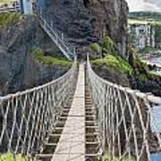 Rope Bridge At Carrick-a-rede In Northern Island Poster