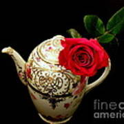 Rose With China Teapot Poster