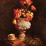 Roses In Urn Poster
