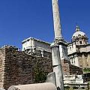 Rostra. Column Of Phocas And Septimius Severus Arch In The Roman Forum. Rome Poster