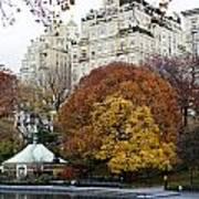 Round Autumn Trees Poster