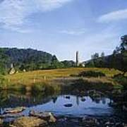 Round Tower In The Forest Glendalough Poster