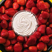 Round Tray Of Strawberries  Poster