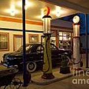 Route 66 Garage At Night Poster