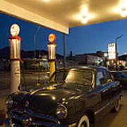 Route 66 Garage Scene Poster