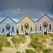 Row Of Pastel Colored Beach Cottages Poster