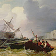 Rowing Boat Going To The Aid Of A Man-o'-war In A Storm Poster