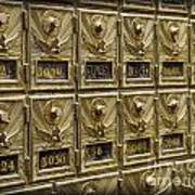 Rows Of Post Office Mailboxes With Combination Locks And Brass O Poster