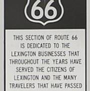 Rt 66 Lexington County Signage Poster