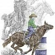 Running The Cloverleaf - Barrel Racing Print Color Tinted Poster
